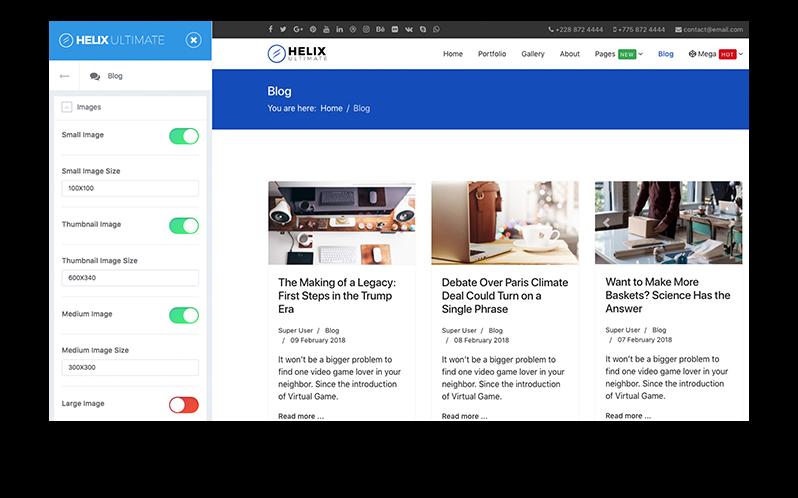 Helix Ultimate - Erweiterte Blogoptionen
