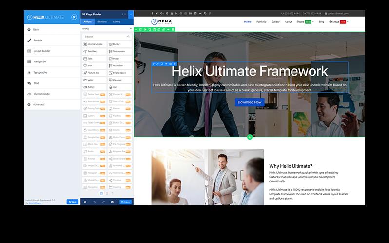 Helix Ultimate - Unterstützung für den SP Page Builder