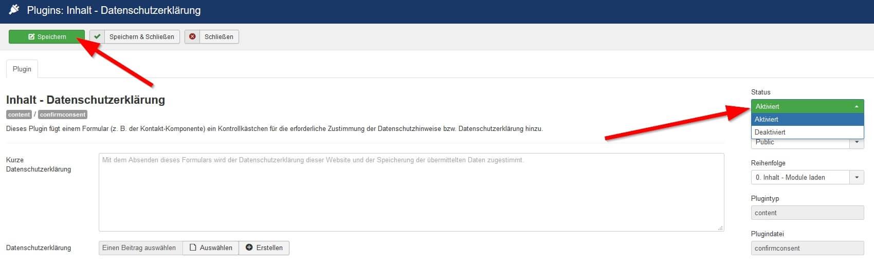 Joomla DSGVO - Ratgeber und Anleitung. Plugin: Inhalt - Datenschutzerklärung aktivieren.