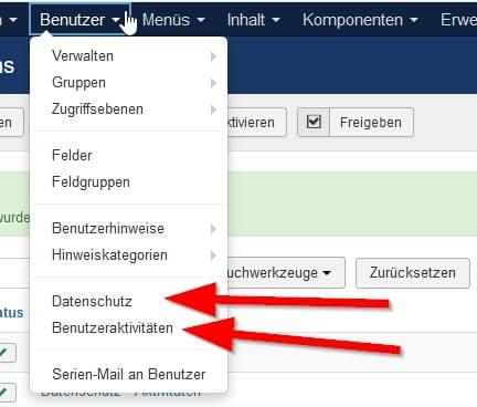 Joomla DSGVO - Ratgeber und Anleitung. Komponenten Datenschutz und Benutzeraktivitäten.