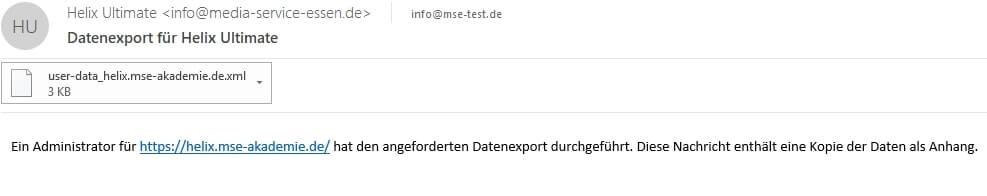 Joomla DSGVO - Ratgeber und Anleitung. Export als XML-Datei.