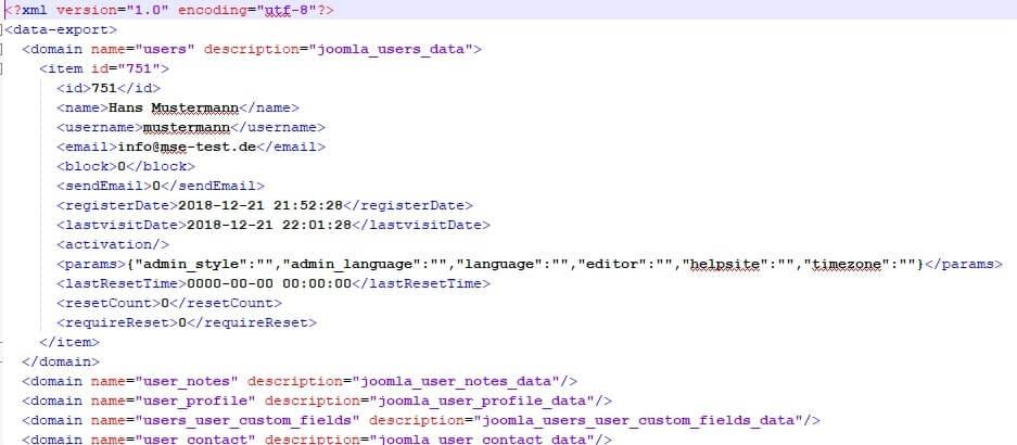 Joomla DSGVO - Ratgeber und Anleitung. Export XML-Datei.