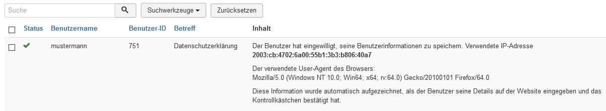 Joomla DSGVO - Ratgeber und Anleitung. Zustimmungen zum Datenschutz.