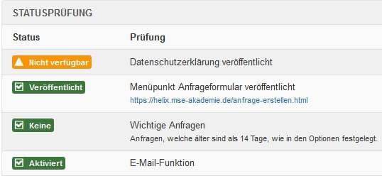 Joomla DSGVO - Ratgeber und Anleitung. Statusprüfung im Backend.