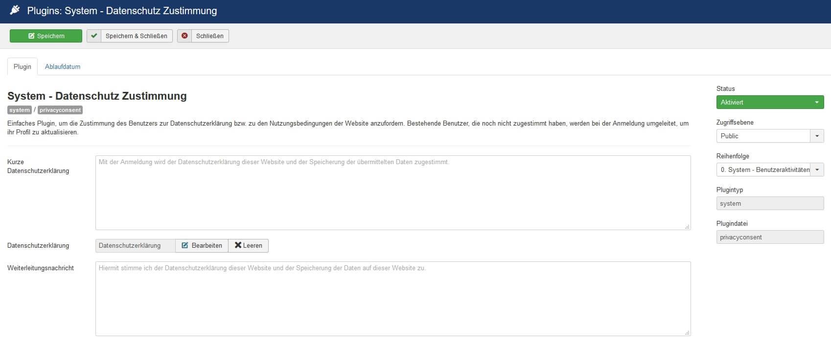 Joomla DSGVO - Ratgeber und Anleitung. Plugin für Datenschutz Zustimmung.