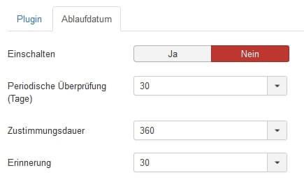 Joomla DSGVO - Ratgeber und Anleitung. Plugin für Datenschutz Zustimmung - Ablaufdatum.